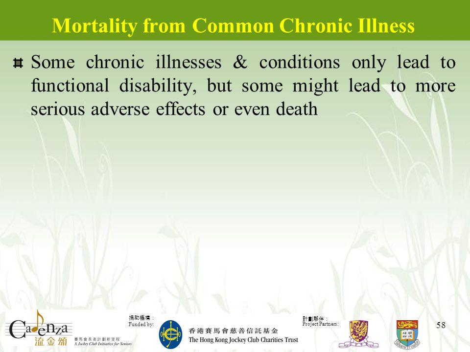 捐助機構: Funded by: 計劃夥伴: Project Partners: 58 Mortality from Common Chronic Illness Some chronic illnesses & conditions only lead to functional disability, but some might lead to more serious adverse effects or even death