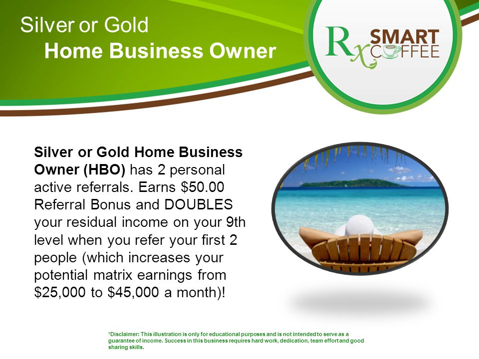 Silver or Gold Home Business Owner *Disclaimer: This illustration is only for educational purposes and is not intended to serve as a guarantee of income.
