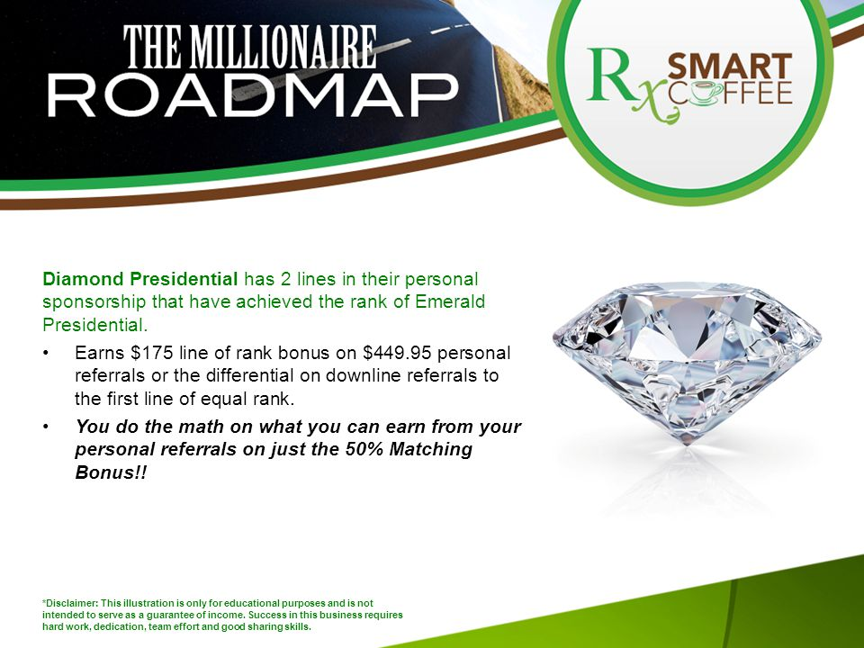 Diamond Presidential has 2 lines in their personal sponsorship that have achieved the rank of Emerald Presidential.