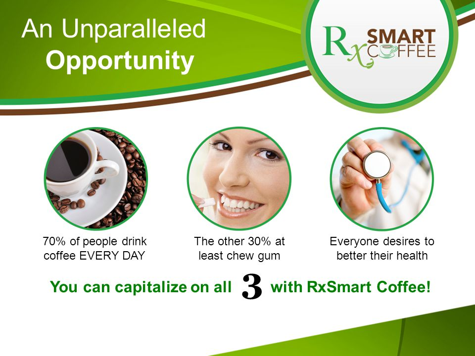 An Unparalleled Opportunity 70% of people drink coffee EVERY DAY The other 30% at least chew gum Everyone desires to better their health You can capitalize on all with RxSmart Coffee.