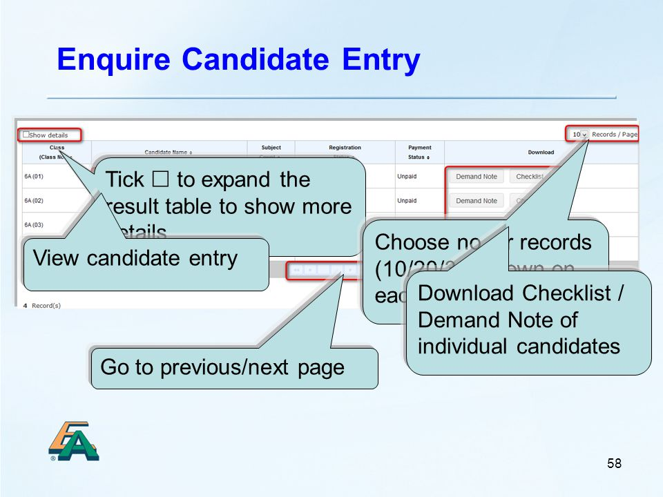 Enquire Candidate Entry 58 Tick  to expand the result table to show more details Choose no.