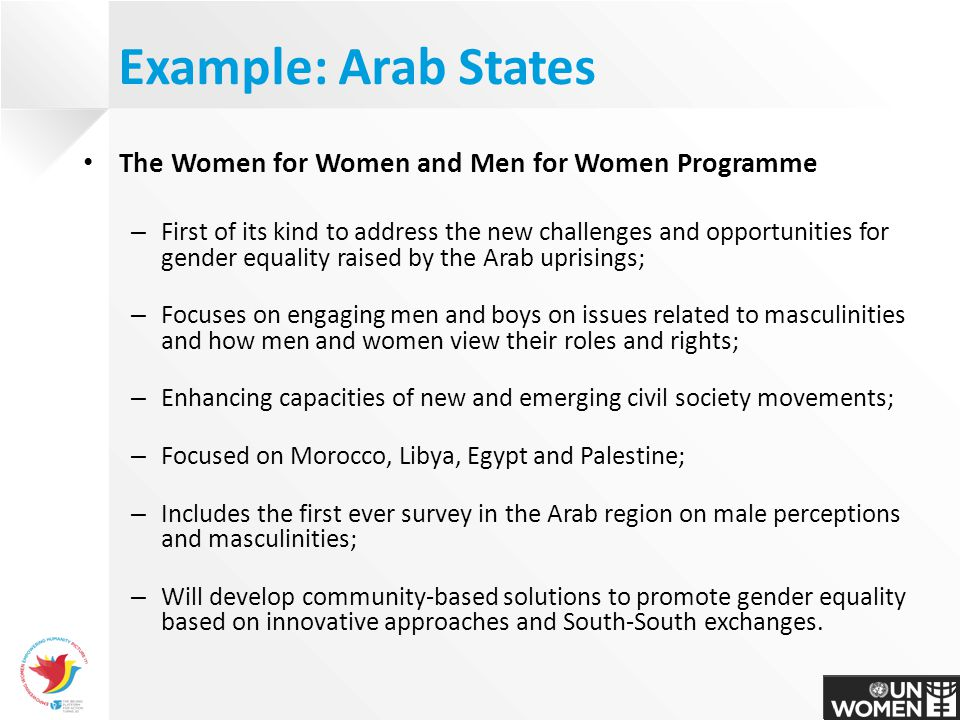 The Women for Women and Men for Women Programme – First of its kind to address the new challenges and opportunities for gender equality raised by the