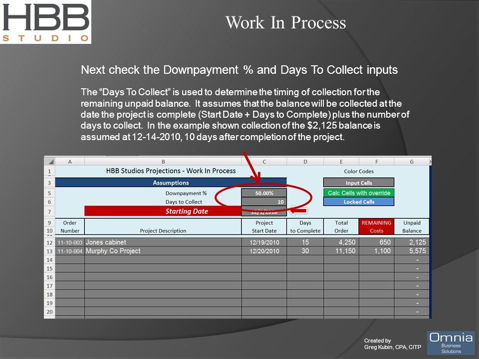 """Created by Greg Kubin, CPA, CITP Work In Process Next check the Downpayment % and Days To Collect inputs The """"Days To Collect"""" is used to determine th"""