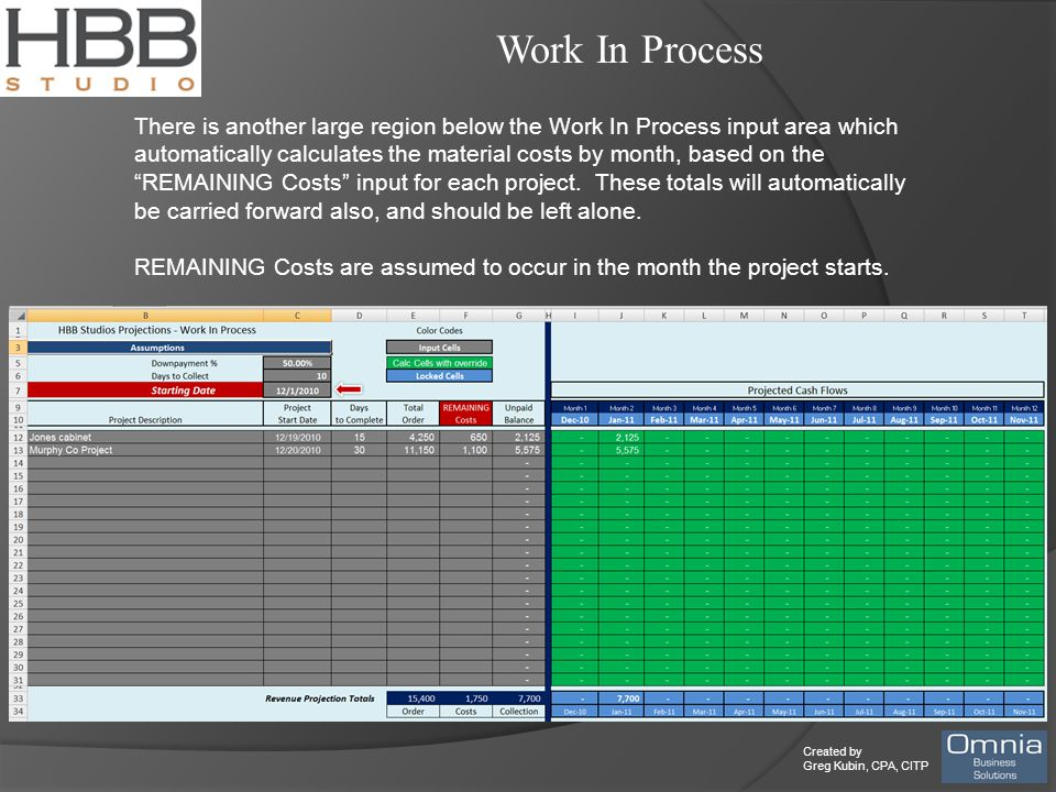 Created by Greg Kubin, CPA, CITP Work In Process There is another large region below the Work In Process input area which automatically calculates the