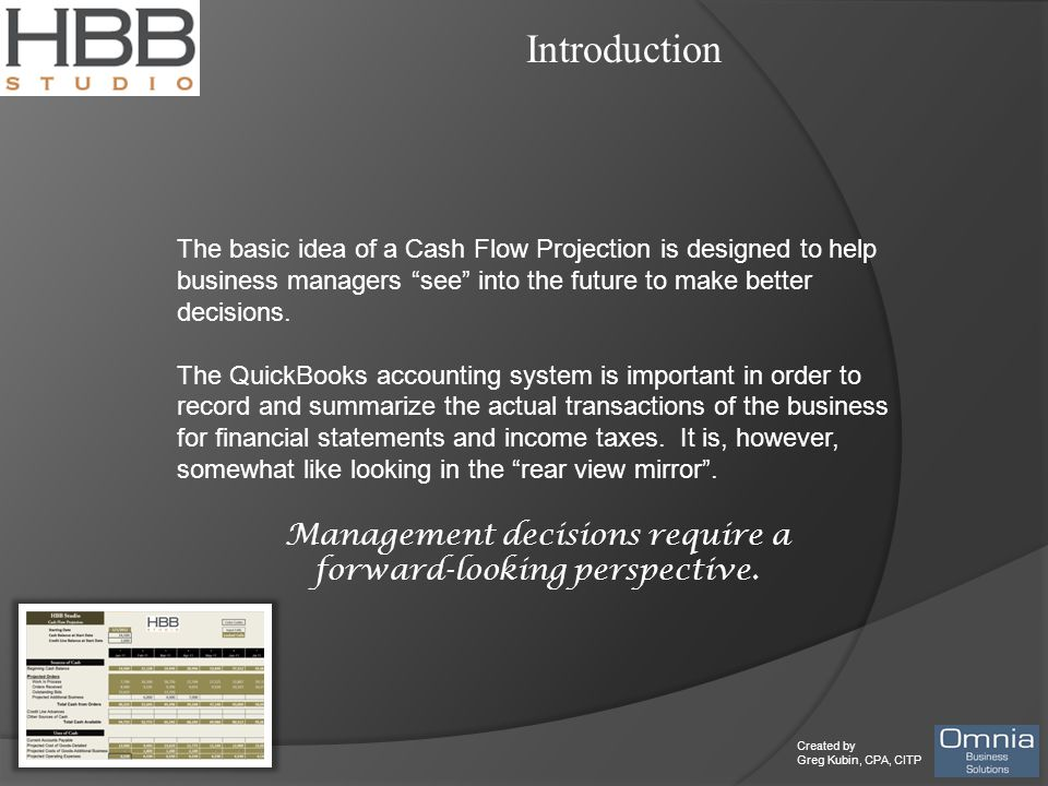 """Created by Greg Kubin, CPA, CITP Introduction The basic idea of a Cash Flow Projection is designed to help business managers """"see"""" into the future to"""
