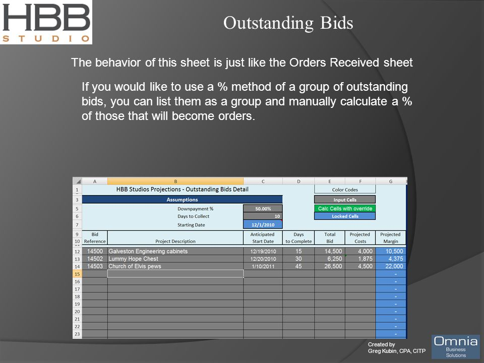 Created by Greg Kubin, CPA, CITP Outstanding Bids The behavior of this sheet is just like the Orders Received sheet If you would like to use a % method of a group of outstanding bids, you can list them as a group and manually calculate a % of those that will become orders.
