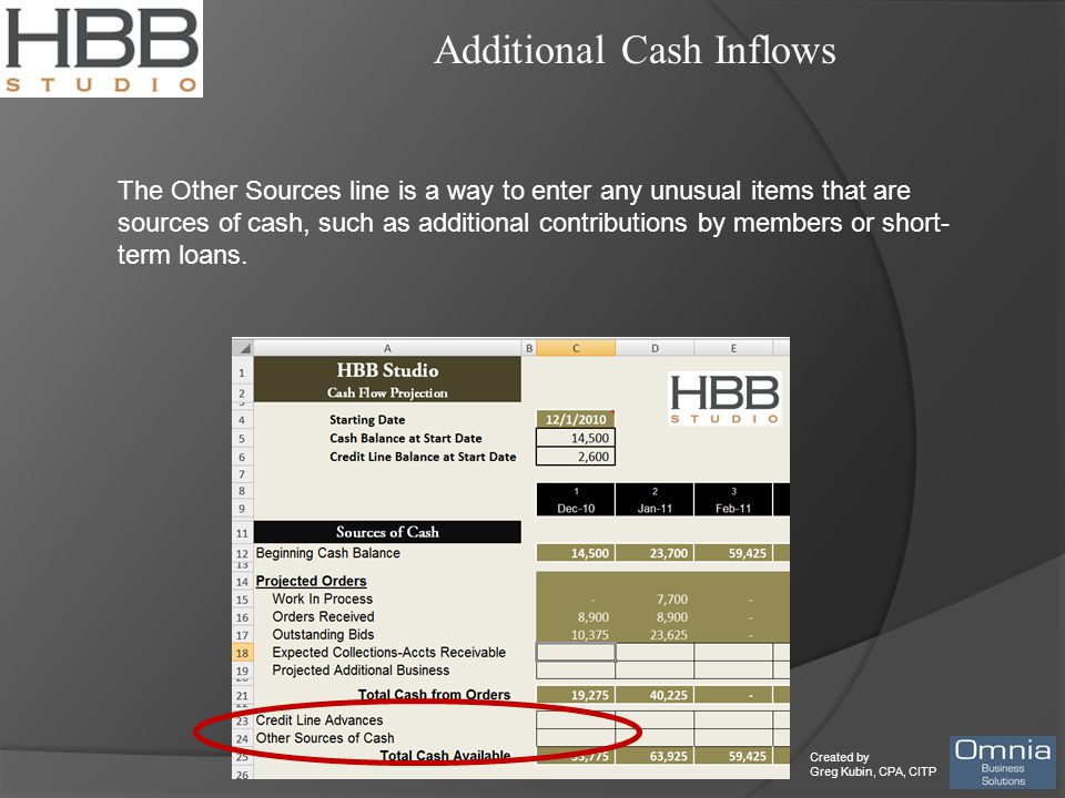 Created by Greg Kubin, CPA, CITP Additional Cash Inflows The Other Sources line is a way to enter any unusual items that are sources of cash, such as additional contributions by members or short- term loans.