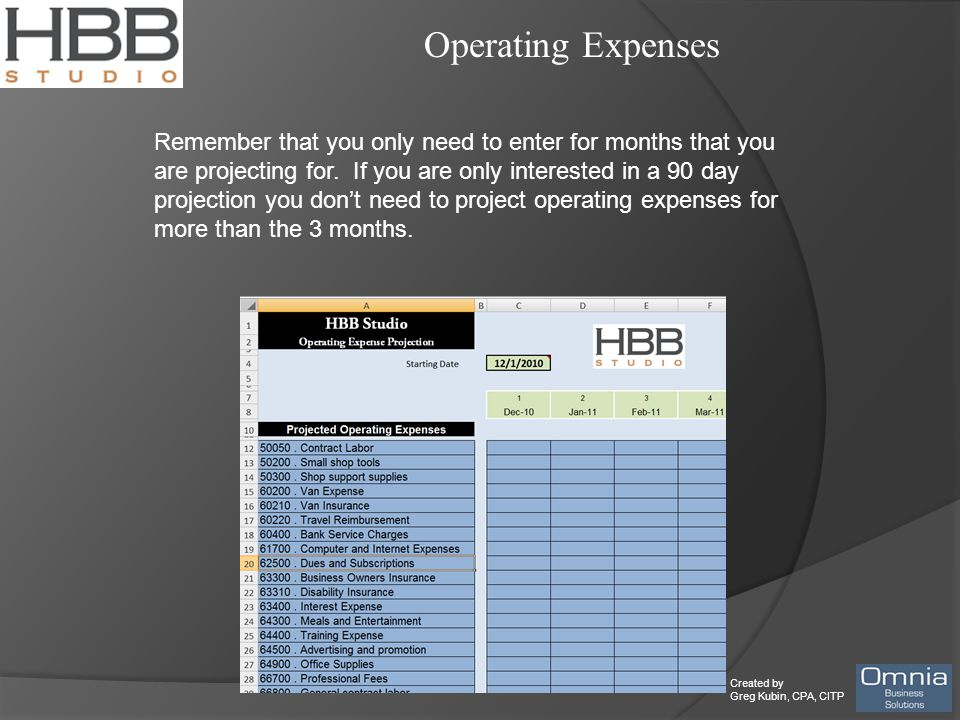 Created by Greg Kubin, CPA, CITP Operating Expenses Remember that you only need to enter for months that you are projecting for.