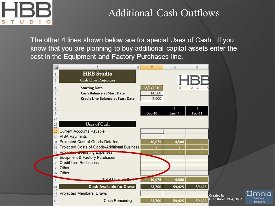 Created by Greg Kubin, CPA, CITP Additional Cash Outflows The other 4 lines shown below are for special Uses of Cash.