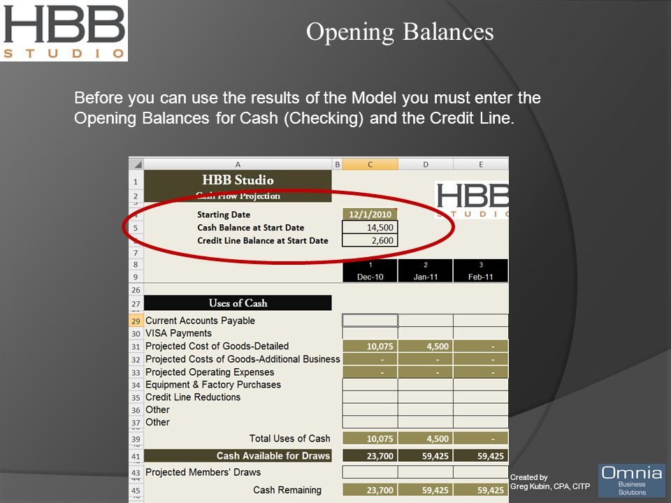 Created by Greg Kubin, CPA, CITP Opening Balances Before you can use the results of the Model you must enter the Opening Balances for Cash (Checking)