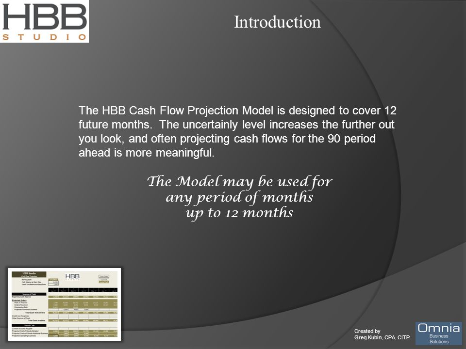 Created by Greg Kubin, CPA, CITP Introduction The HBB Cash Flow Projection Model is designed to cover 12 future months. The uncertainly level increase