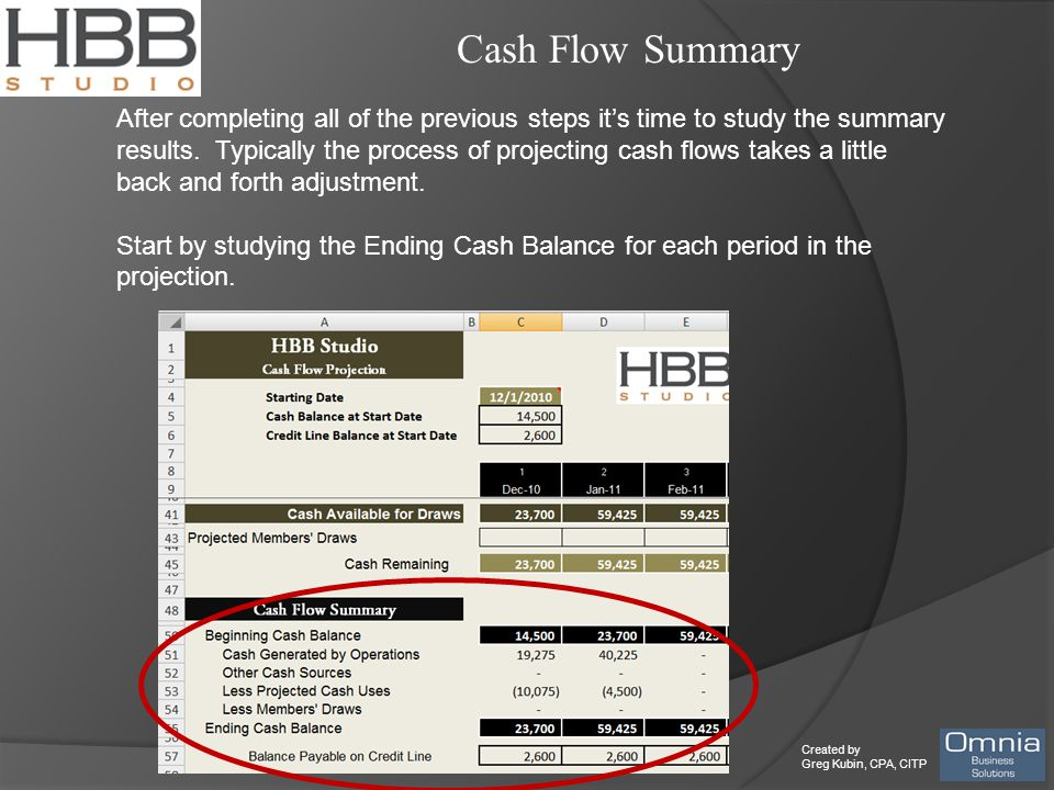Created by Greg Kubin, CPA, CITP Cash Flow Summary After completing all of the previous steps it's time to study the summary results. Typically the pr