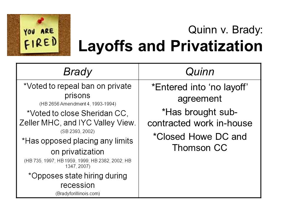 Quinn v. Brady: Layoffs and Privatization BradyQuinn *Voted to repeal ban on private prisons (HB 2656 Amendment 4, 1993-1994) *Voted to close Sheridan