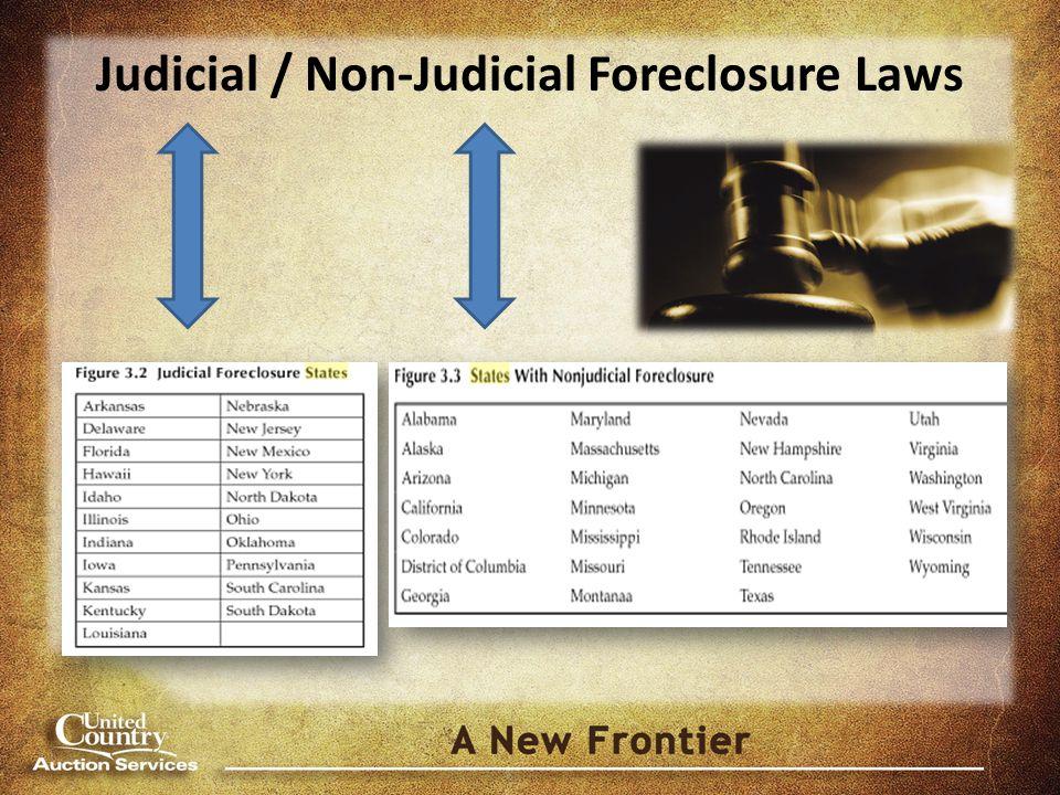 Judicial / Non-Judicial Foreclosure Laws