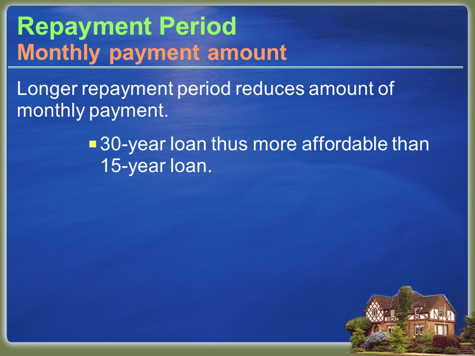 Repayment Period Longer repayment period reduces amount of monthly payment.