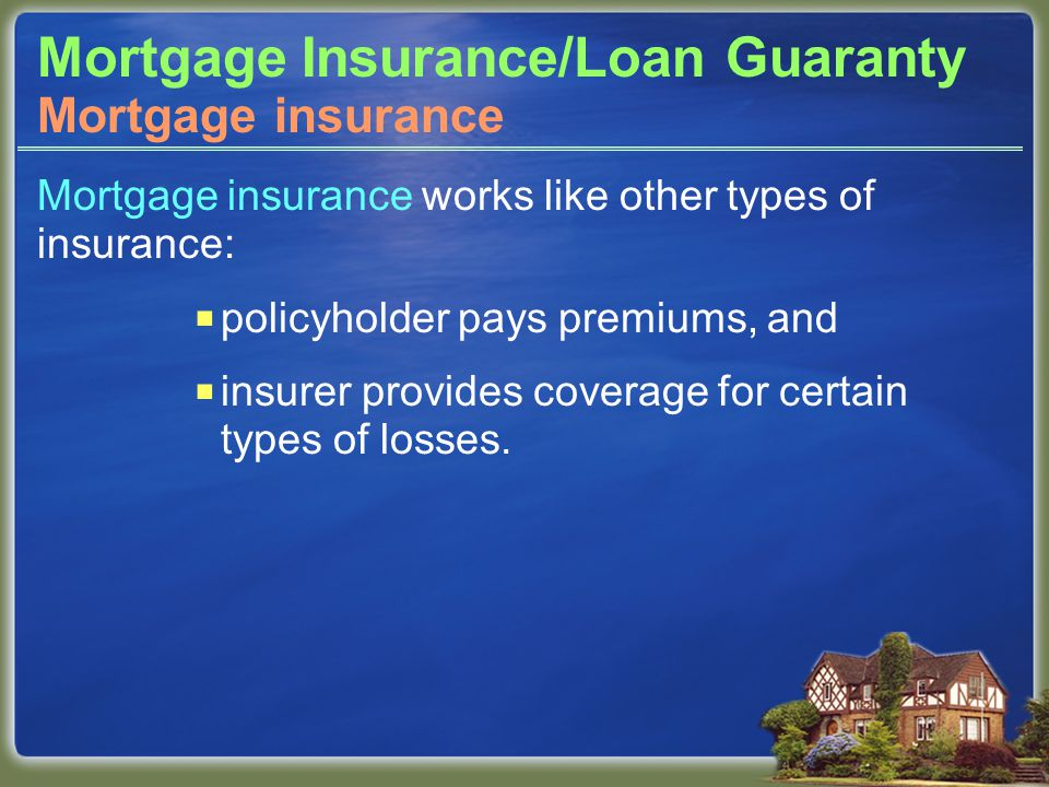 Mortgage Insurance/Loan Guaranty Mortgage insurance works like other types of insurance:  policyholder pays premiums, and  insurer provides coverage for certain types of losses.