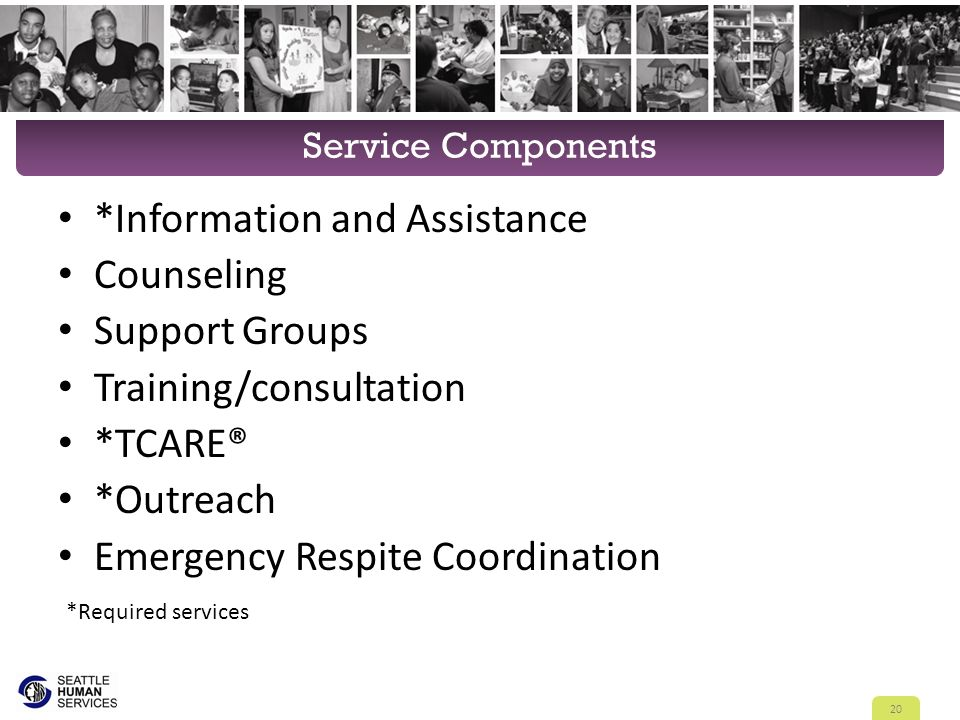 Service Components *Information and Assistance Counseling Support Groups Training/consultation *TCARE® *Outreach Emergency Respite Coordination 20 *Required services