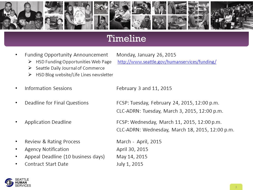 Timeline Funding Opportunity AnnouncementMonday, January 26, 2015  HSD Funding Opportunities Web Page http://www.seattle.gov/humanservices/funding/ht
