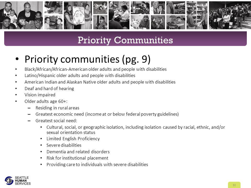 Priority Communities Priority communities (pg.