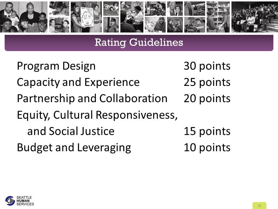 Rating Guidelines Program Design30 points Capacity and Experience25 points Partnership and Collaboration20 points Equity, Cultural Responsiveness, and