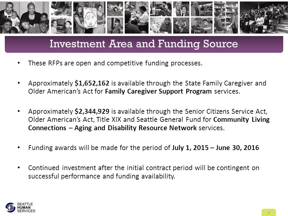 Area Agency on Aging 13 AAAs in Washington State Sponsored by the City of Seattle, United Way and King County Administered by the City of Seattle Human Services Department, serves all of King County 5