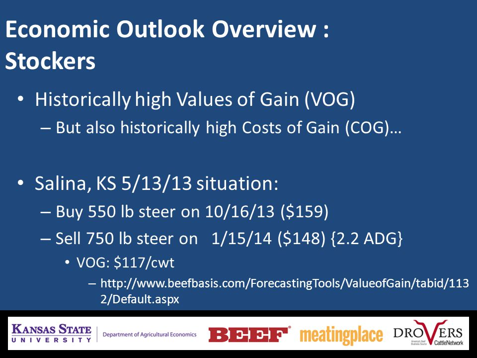 Economic Outlook Overview : Stockers Historically high Values of Gain (VOG) – But also historically high Costs of Gain (COG)… Salina, KS 5/13/13 situation: – Buy 550 lb steer on 10/16/13 ($159) – Sell 750 lb steer on 1/15/14 ($148) {2.2 ADG} VOG: $117/cwt – http://www.beefbasis.com/ForecastingTools/ValueofGain/tabid/113 2/Default.aspx