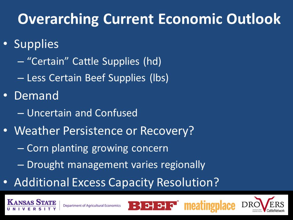 Overarching Current Economic Outlook Supplies – Certain Cattle Supplies (hd) – Less Certain Beef Supplies (lbs) Demand – Uncertain and Confused Weather Persistence or Recovery.