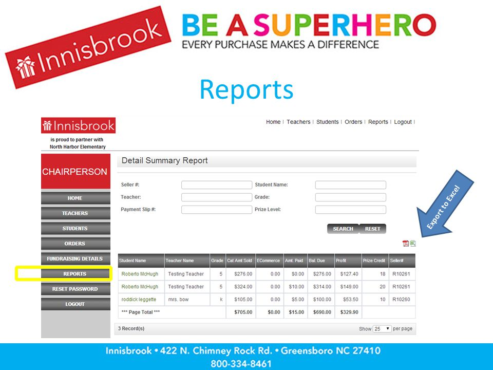 Reports Export to Excel