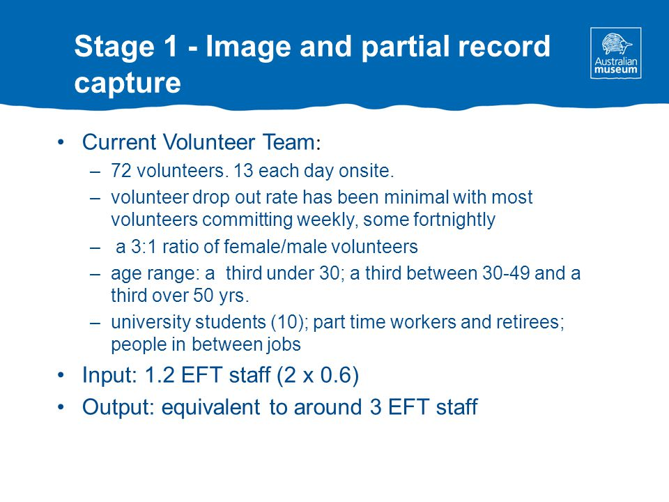 Stage 1 - Image and partial record capture Current Volunteer Team : –72 volunteers.