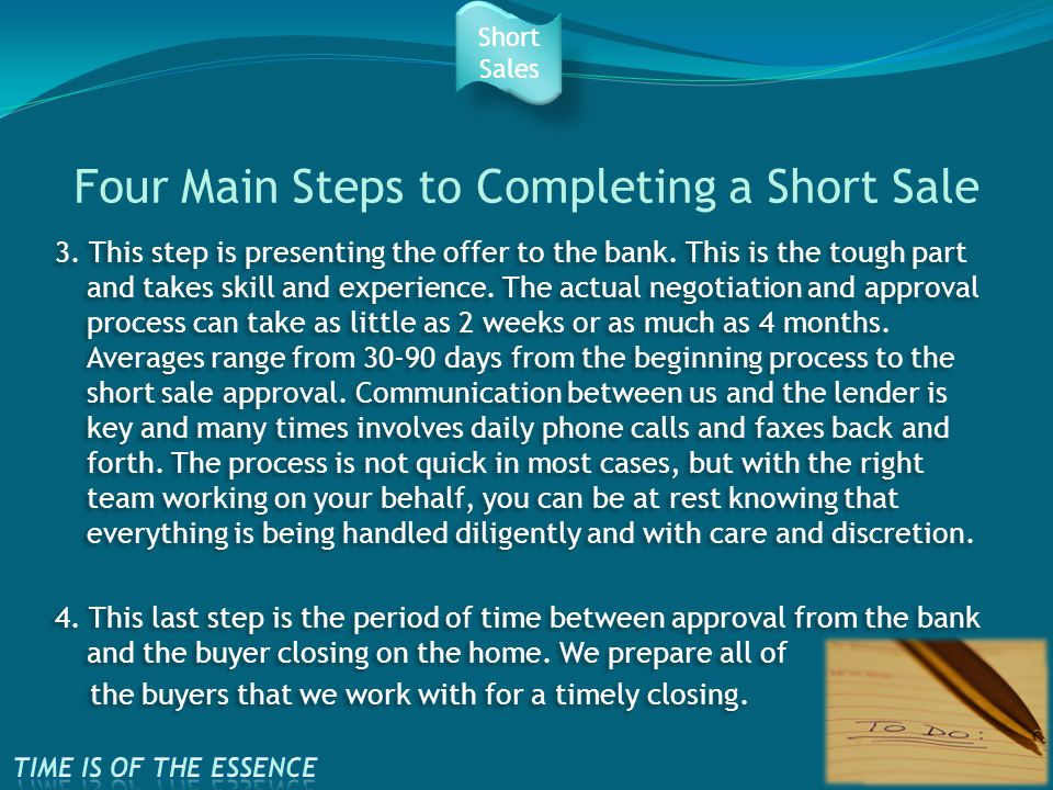 Four Main Steps to Completing a Short Sale 3. This step is presenting the offer to the bank.