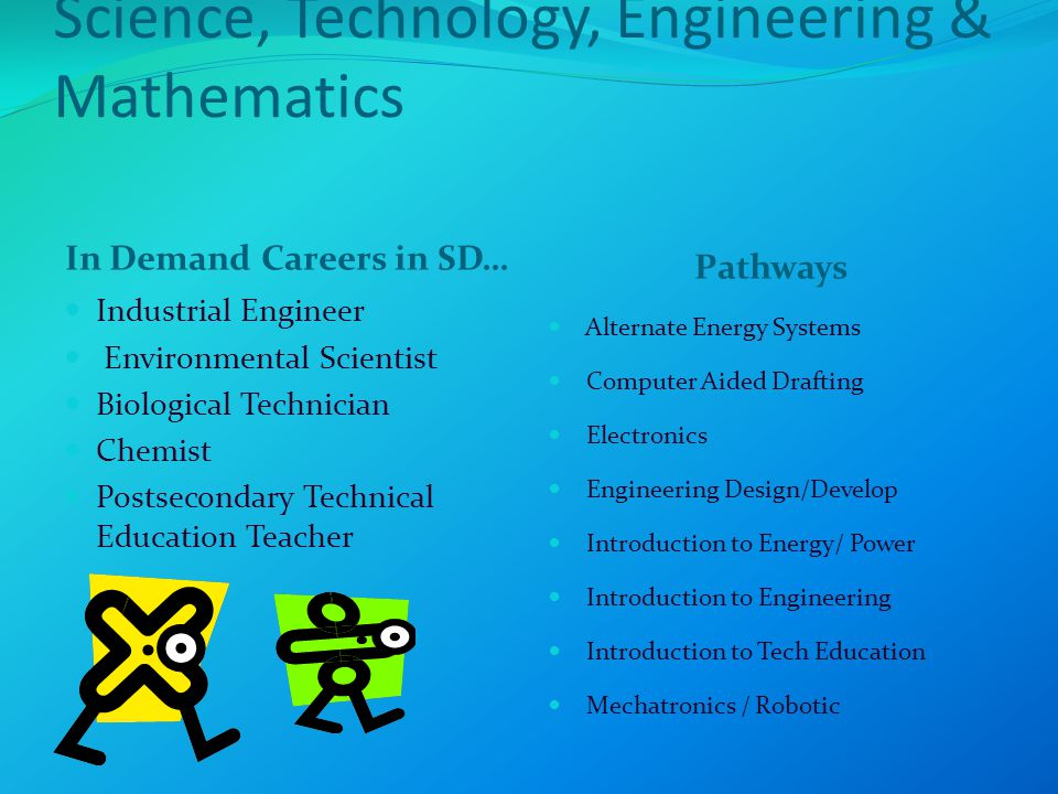 Science, Technology, Engineering & Mathematics In Demand Careers in SD… Pathways Industrial Engineer Environmental Scientist Biological Technician Chemist Postsecondary Technical Education Teacher Alternate Energy Systems Computer Aided Drafting Electronics Engineering Design/Develop Introduction to Energy/ Power Introduction to Engineering Introduction to Tech Education Mechatronics / Robotic