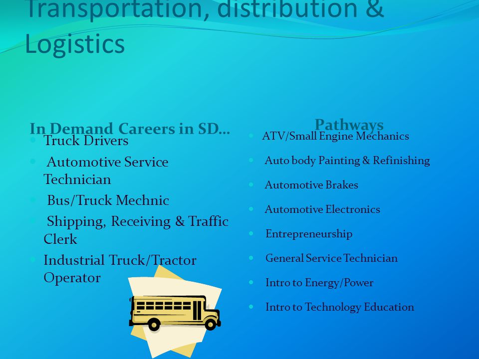 Transportation, distribution & Logistics In Demand Careers in SD… Pathways Truck Drivers Automotive Service Technician Bus/Truck Mechnic Shipping, Receiving & Traffic Clerk Industrial Truck/Tractor Operator ATV/Small Engine Mechanics Auto body Painting & Refinishing Automotive Brakes Automotive Electronics Entrepreneurship General Service Technician Intro to Energy/Power Intro to Technology Education