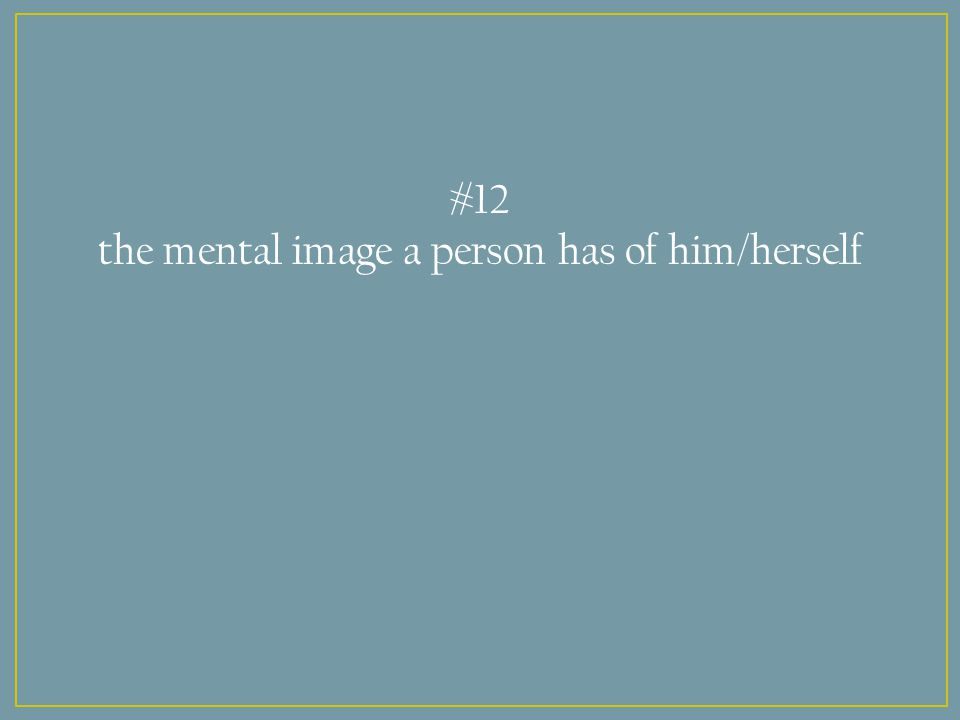 #12 the mental image a person has of him/herself