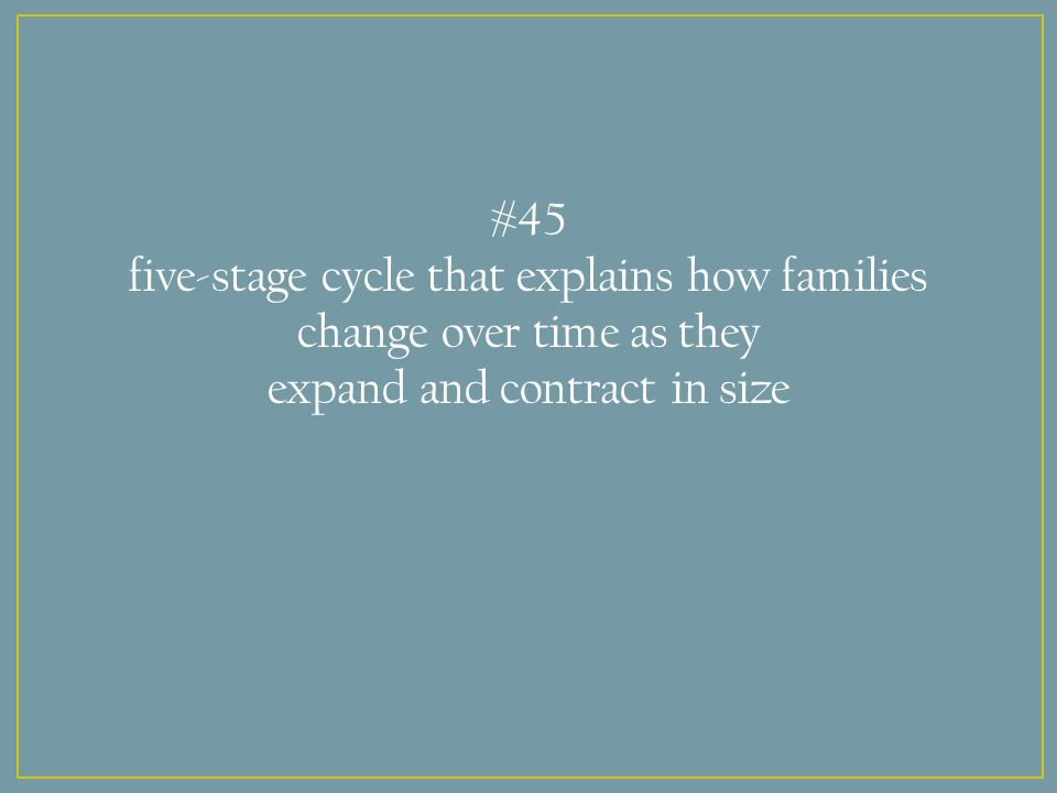 #45 five-stage cycle that explains how families change over time as they expand and contract in size