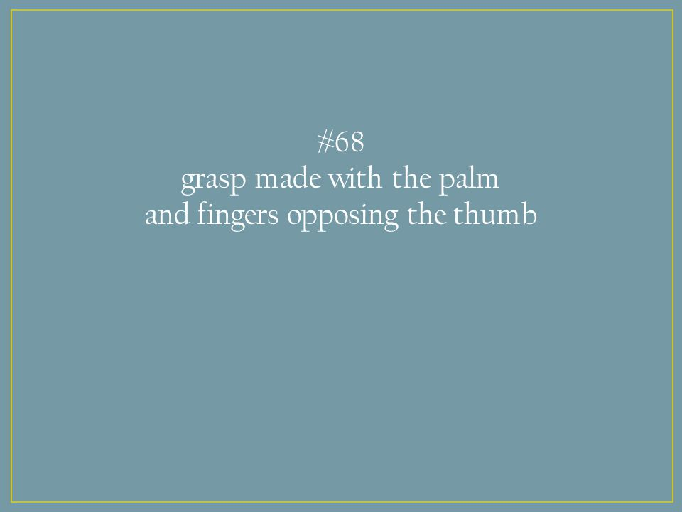 #68 grasp made with the palm and fingers opposing the thumb