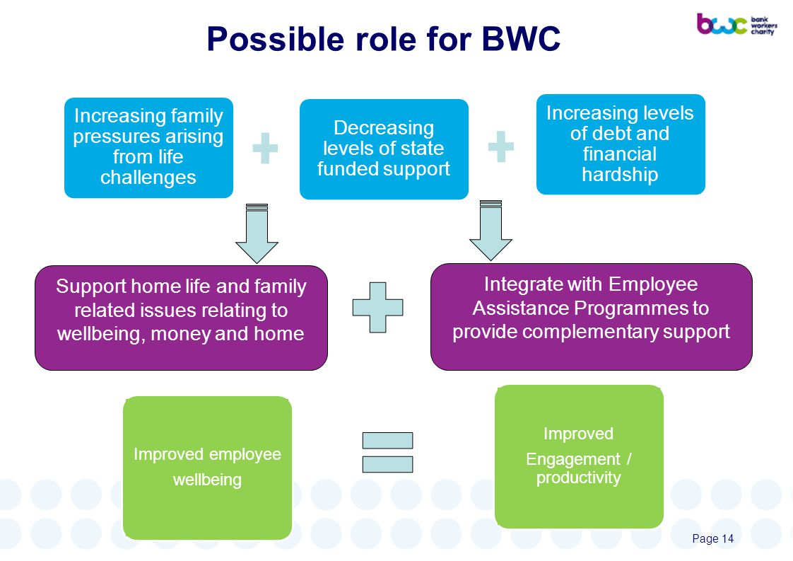 Possible role for BWC Increasing levels of debt and financial hardship Decreasing levels of state funded support Increasing family pressures arising from life challenges Support home life and family related issues relating to wellbeing, money and home Integrate with Employee Assistance Programmes to provide complementary support Improved employee wellbeing Improved Engagement / productivity Page 14