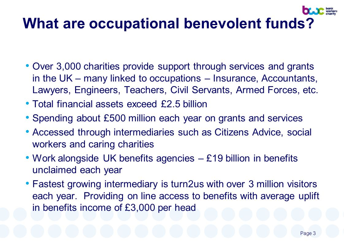 What are occupational benevolent funds.