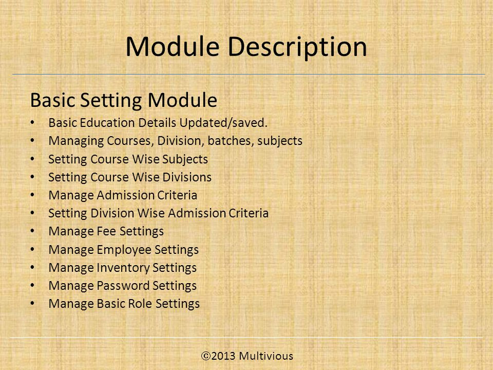 Module Description Basic Setting Module Basic Education Details Updated/saved.