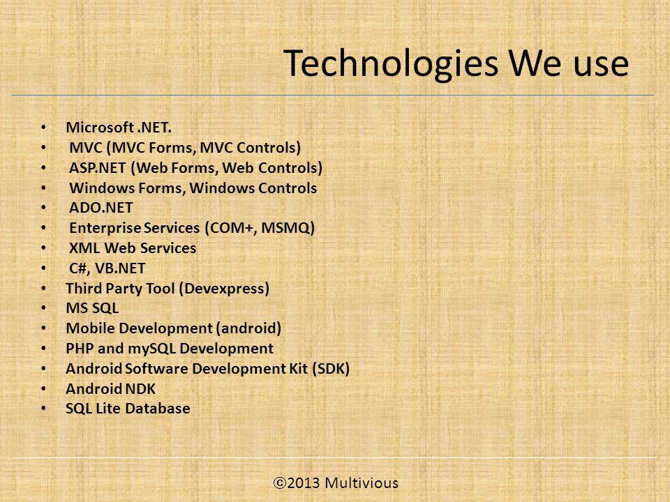 Technologies We use Microsoft.NET.