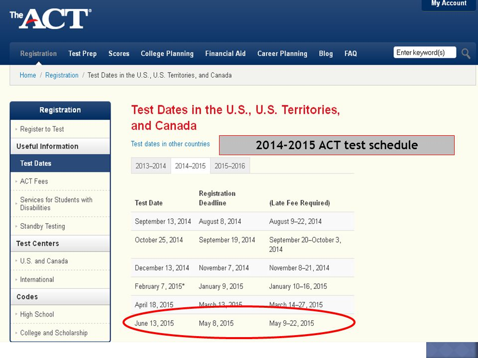 2014-2015 ACT test schedule
