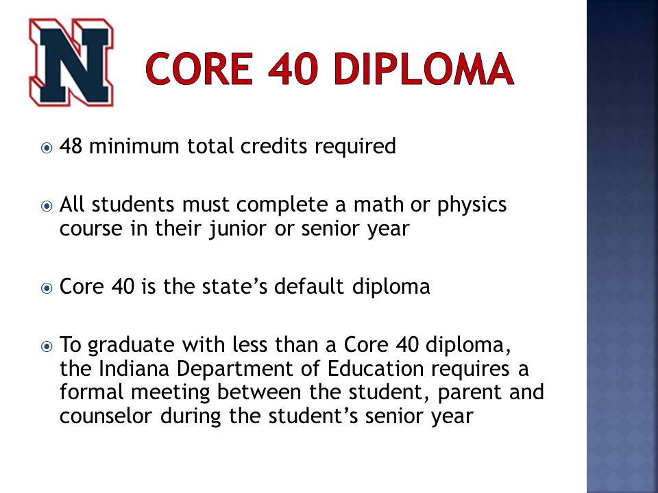  48 minimum total credits required  All students must complete a math or physics course in their junior or senior year  Core 40 is the state's default diploma  To graduate with less than a Core 40 diploma, the Indiana Department of Education requires a formal meeting between the student, parent and counselor during the student's senior year