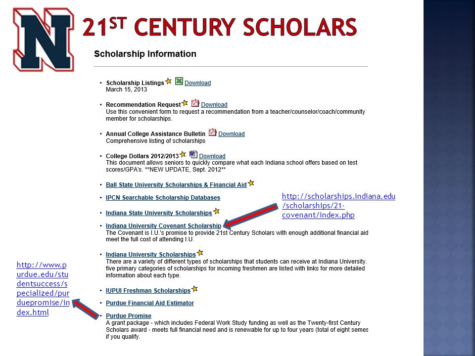 http://scholarships.indiana.edu /scholarships/21- covenant/index.php http://www.p urdue.edu/stu dentsuccess/s pecialized/pur duepromise/in dex.html