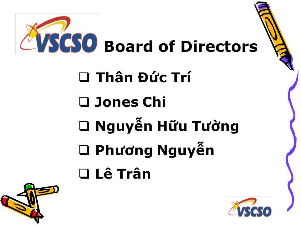 Board of Directors  Thân Đức Trí  Jones Chi  Nguyễn Hữu Tường  Phương Nguyễn  Lê Trân
