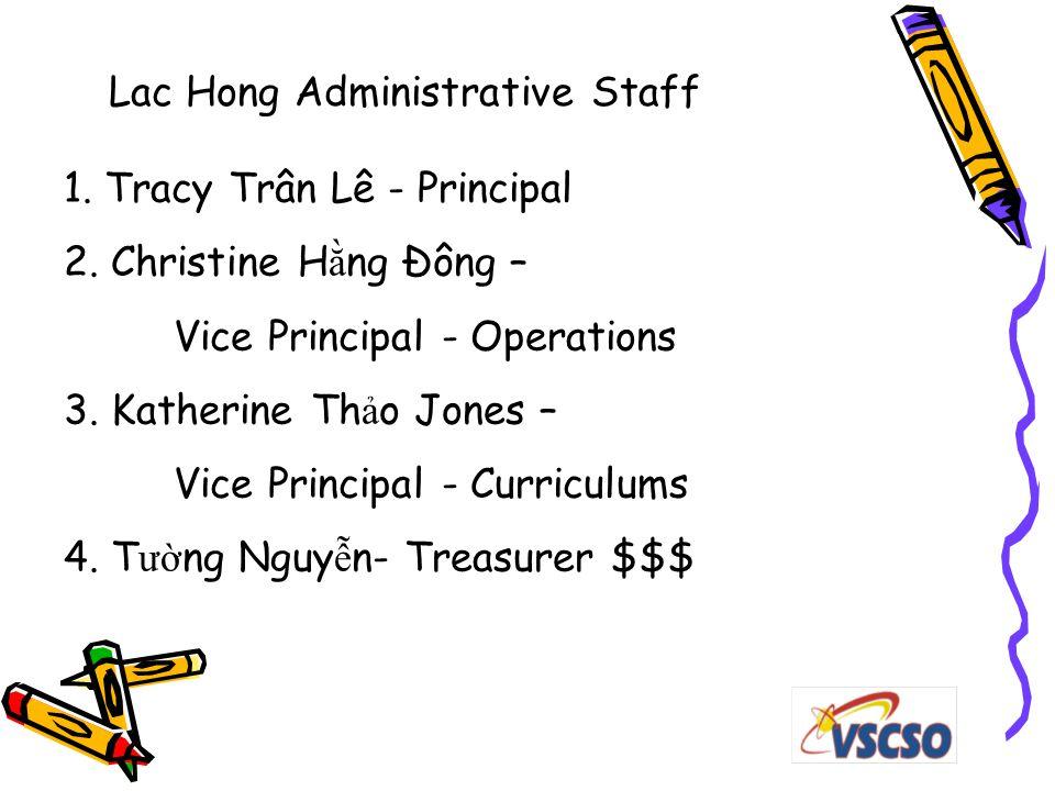 1.Tracy Trân Lê - Principal 2. Christine H ằ ng Đông – Vice Principal - Operations 3.