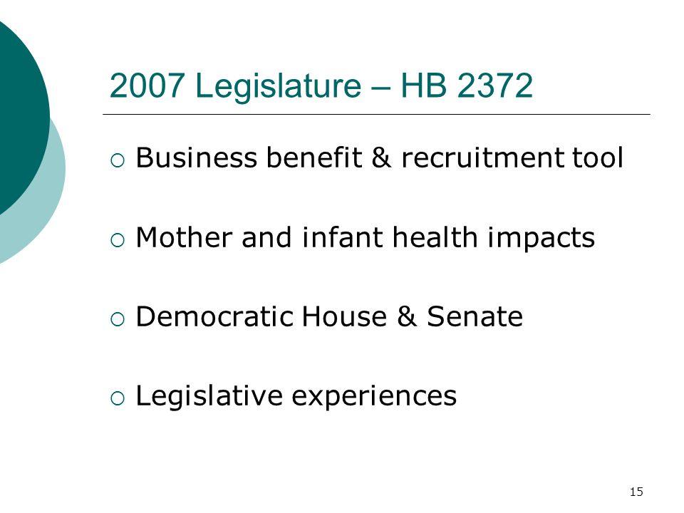 15 2007 Legislature – HB 2372  Business benefit & recruitment tool  Mother and infant health impacts  Democratic House & Senate  Legislative experiences