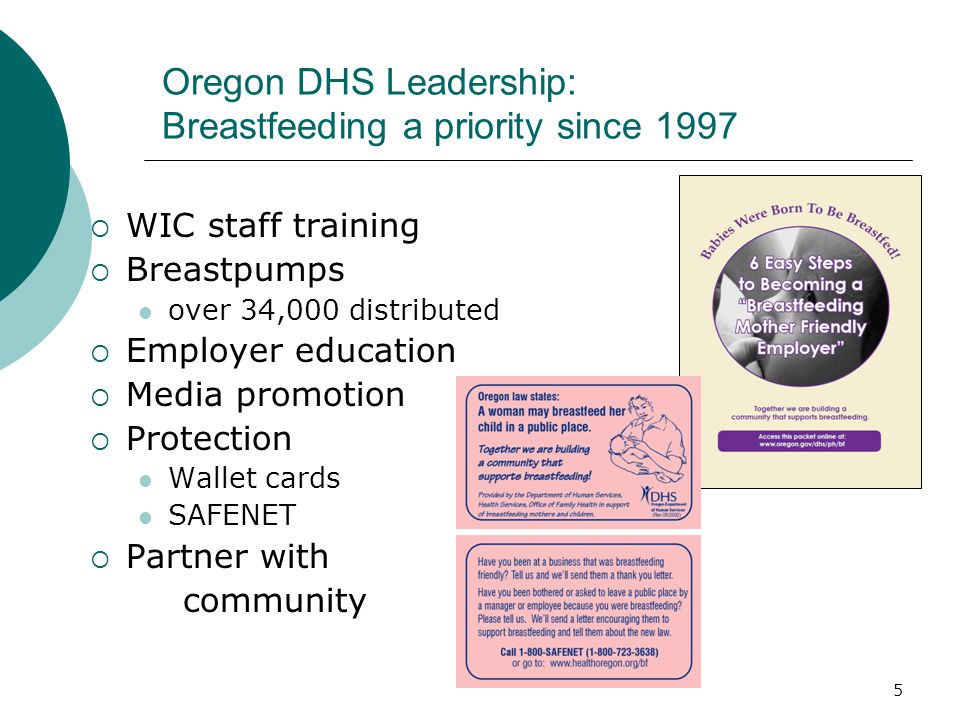 5 Oregon DHS Leadership: Breastfeeding a priority since 1997  WIC staff training  Breastpumps over 34,000 distributed  Employer education  Media promotion  Protection Wallet cards SAFENET  Partner with community