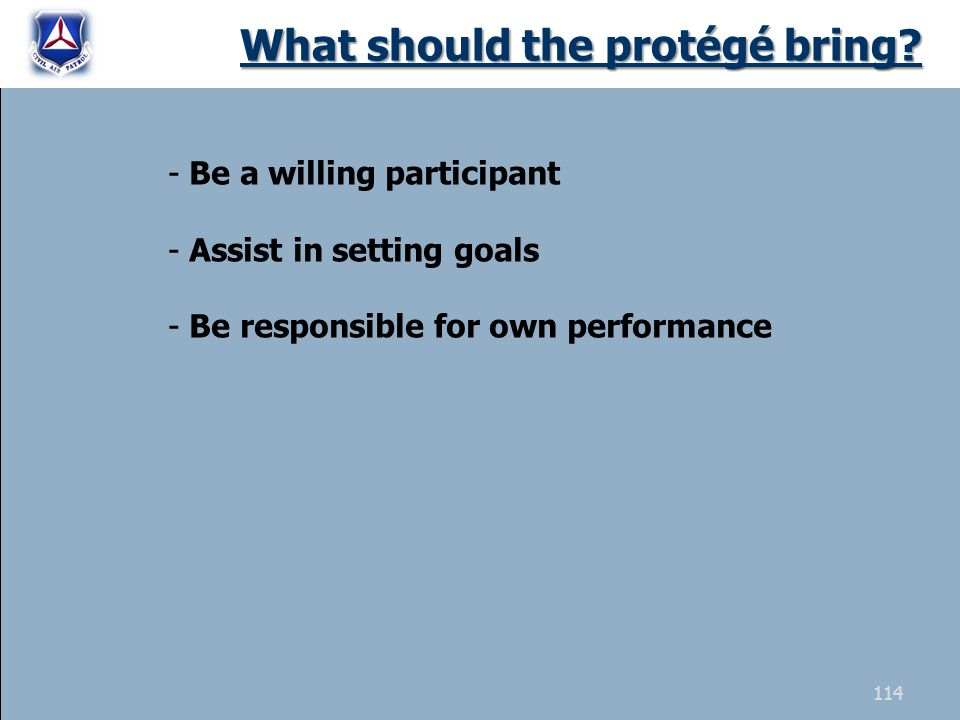 What should the protégé bring? - Be a willing participant - Assist in setting goals - Be responsible for own performance 114