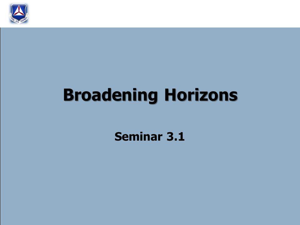 Broadening Horizons Seminar 3.1