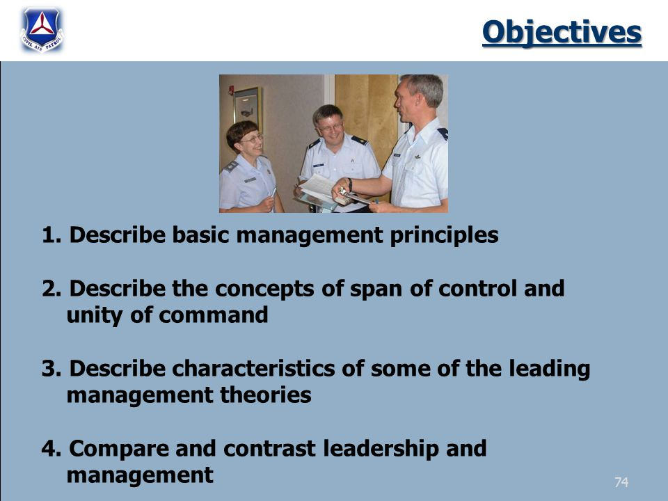Objectives 1. Describe basic management principles 2.