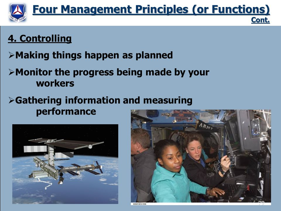 Four Management Principles (or Functions) Cont. 4. Controlling  Making things happen as planned  Monitor the progress being made by your workers  G